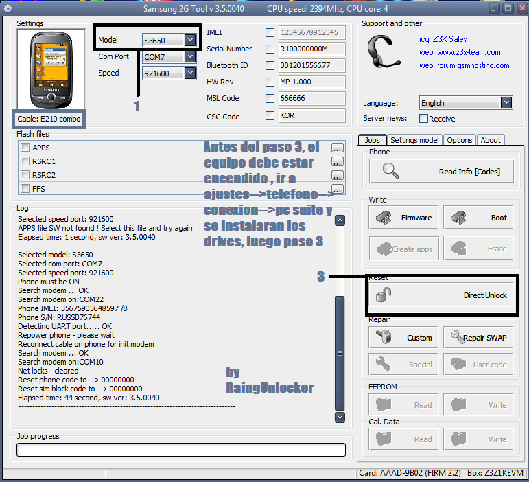 aporte Unlock Samsung gt s3650 wiht z3x box Unlock17