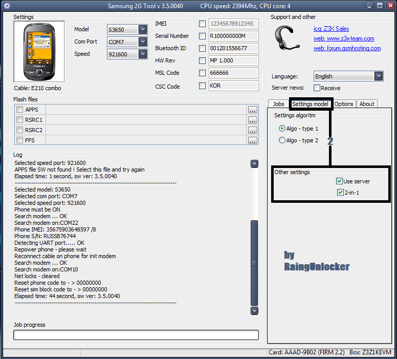 aporte Unlock Samsung gt s3650 wiht z3x box Unlock18