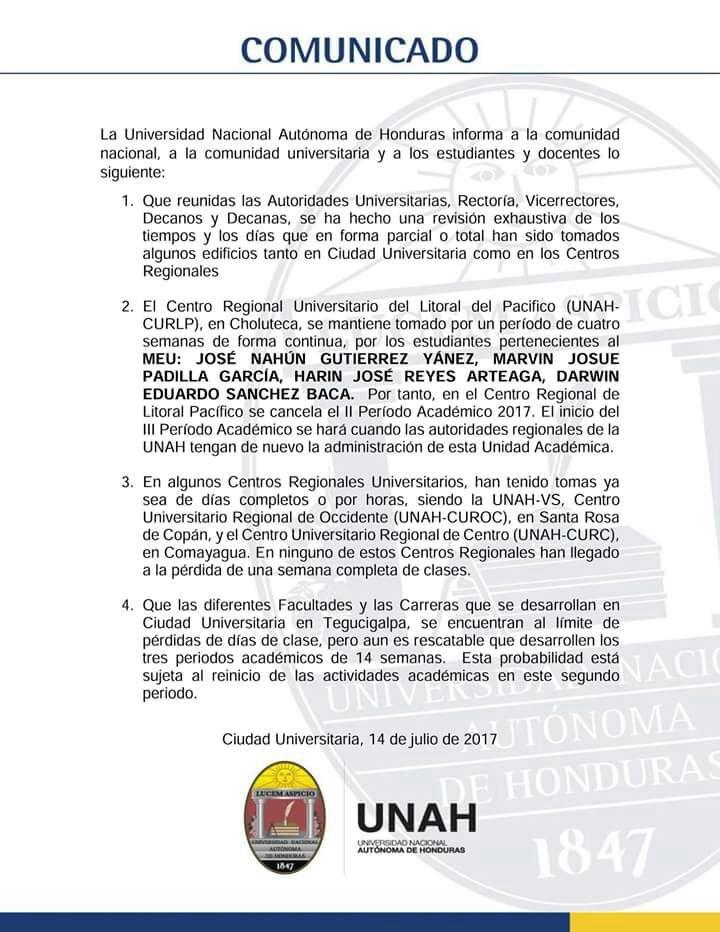 Autoridades del Alma Mater , amenazan con cancelar periodo en Choluteca Comuni10