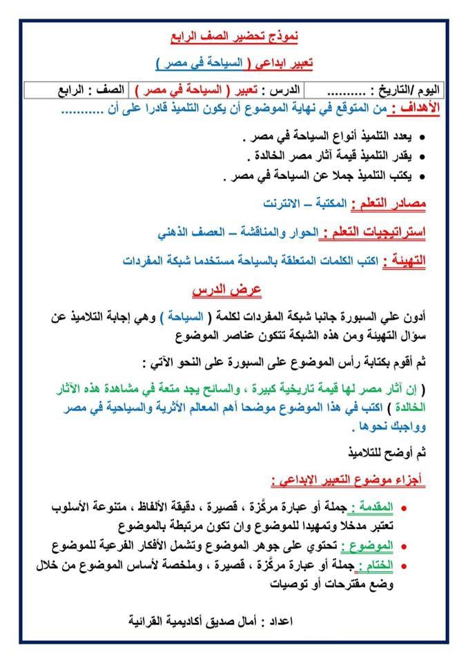 نموذج تحضير درس السياحة فى مصر للصف الرابع تعديل2018