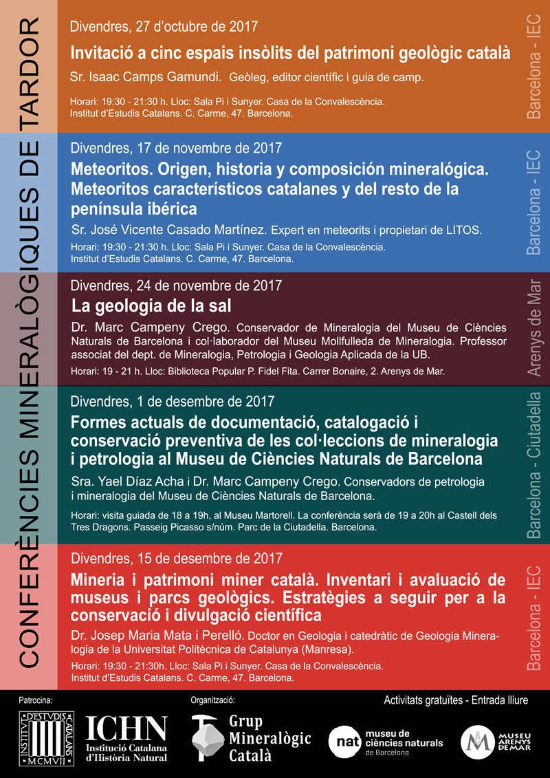 Cicle de Conferències Mineralògiques de Tardor 2017 Cartel11