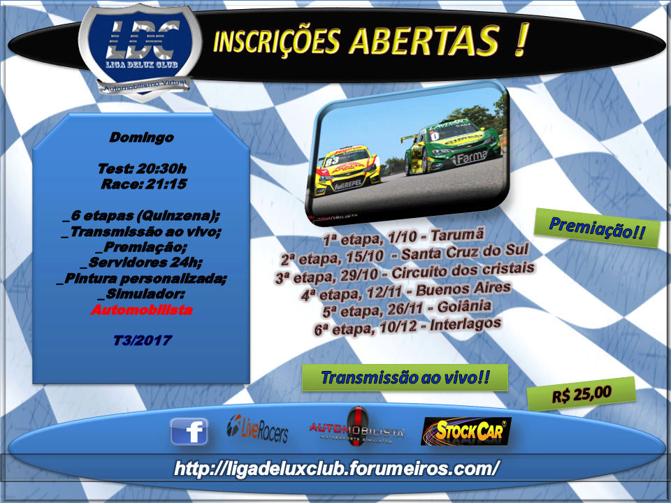 LIGA DELUX CLUB - 4Fun #Stock Car, Velopark  Inscri12