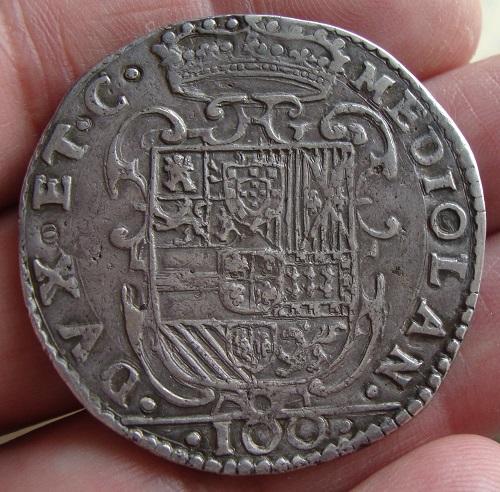 1606/7. Felipe III. Milán. 1 felipe de 100 sueldos Dsc04822