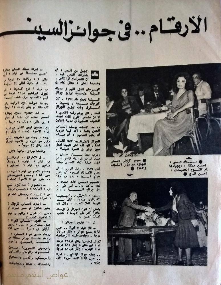 مقال صحفي : الأرقام .. في جوائز السينما هذا العام 1974 م 119