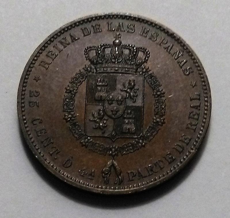 25 Céntimos o 4ª Parte de Real, 1859 - Isabel II Img_2025