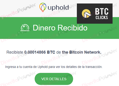 Primer pago de BTCClicks  0,00014866 BTC UpHold (un día) Primer10