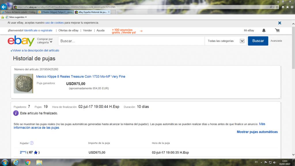 8 Reales (klippe) Felipe V , ceca de Mexico a la venta en plataforma internet Captur10