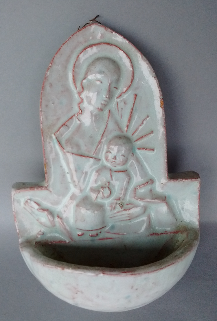 Art Deco Glazed Terra Cotta Holy Water Font- Amateur or known artist? Img_2022