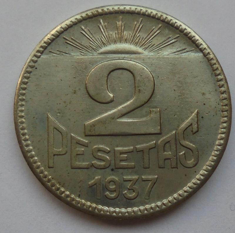 2 pesetas 1937. Consejo de Asturias y León. II Guerra Civil Dsc07516