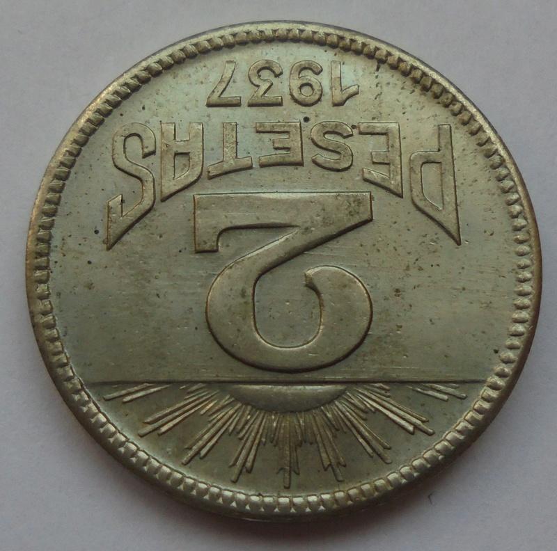 2 pesetas 1937. Consejo de Asturias y León. II Guerra Civil Dsc07517