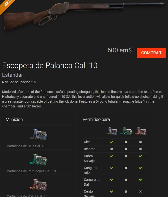 ARMA NUEVA: ESCOPETA DE PALANCA CALIBRE-10 (No Bisontes) Escope10