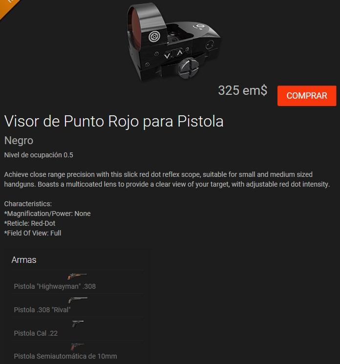 VISOR DE PUNTO ROJO PARA PISTOLAS: R-308; Pist.22 y Semi.10 Visor_10