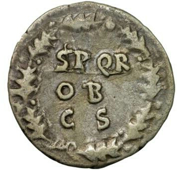 Denario Vitelio. SPQR OB C S dentro de corona de laurel. Ceca Roma. Img-2011