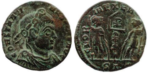 AE4 de Constantino I el Grande. GLORIA EXERCITVS. Lyon Consta11