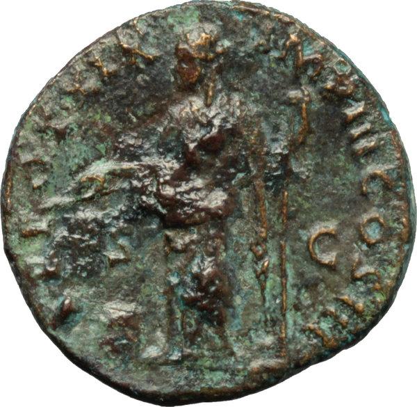 Dupondio de Marco Aurelio. TR POT XIX IMP III COS III /S C. Providentia Smg_7811