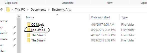 Game folder changing from The Sims 4 to