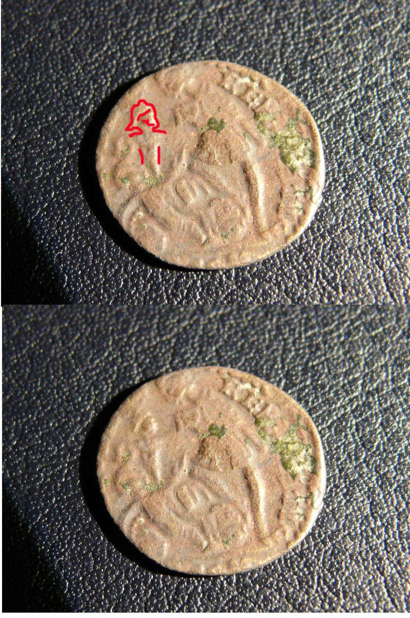 AE4 de Consrtancio II FEL TEMP REPARATIO. Soldado romano alanceando a jinete caído. Arles. Acuñado sobre otra tipo GLORIA EXERCITVS. 0rever10