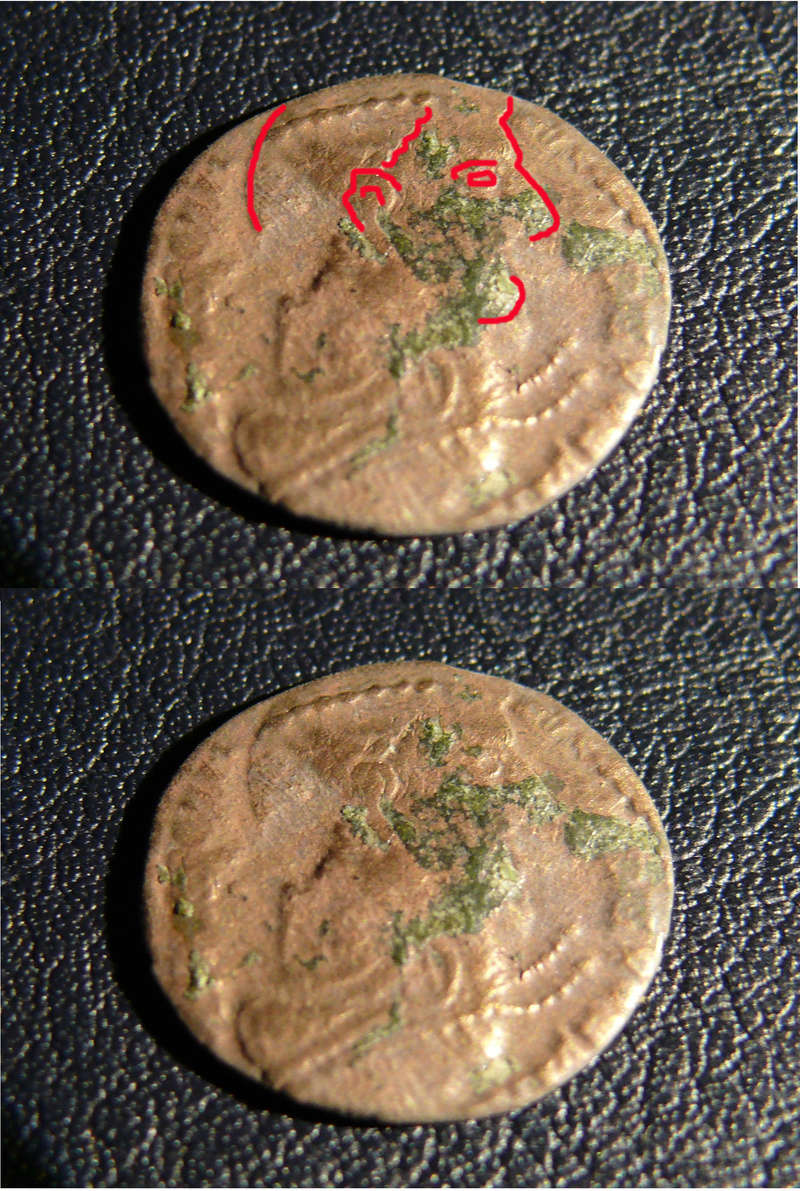 AE4 de Consrtancio II FEL TEMP REPARATIO. Soldado romano alanceando a jinete caído. Arles. Acuñado sobre otra tipo GLORIA EXERCITVS. Revers13