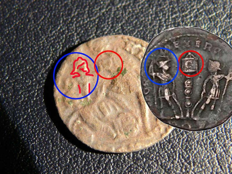 AE4 de Consrtancio II FEL TEMP REPARATIO. Soldado romano alanceando a jinete caído. Arles. Acuñado sobre otra tipo GLORIA EXERCITVS. Revers14