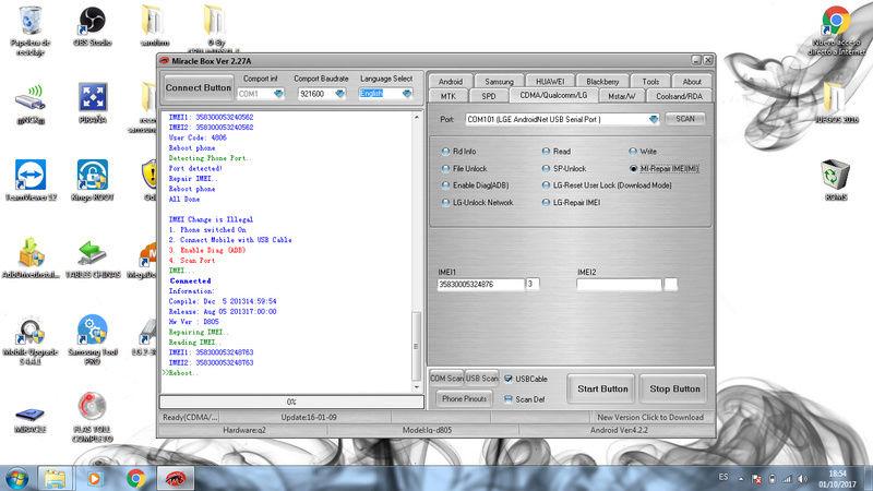 REPARAR IMEI LG G2 D805 CON CRACK 2j10