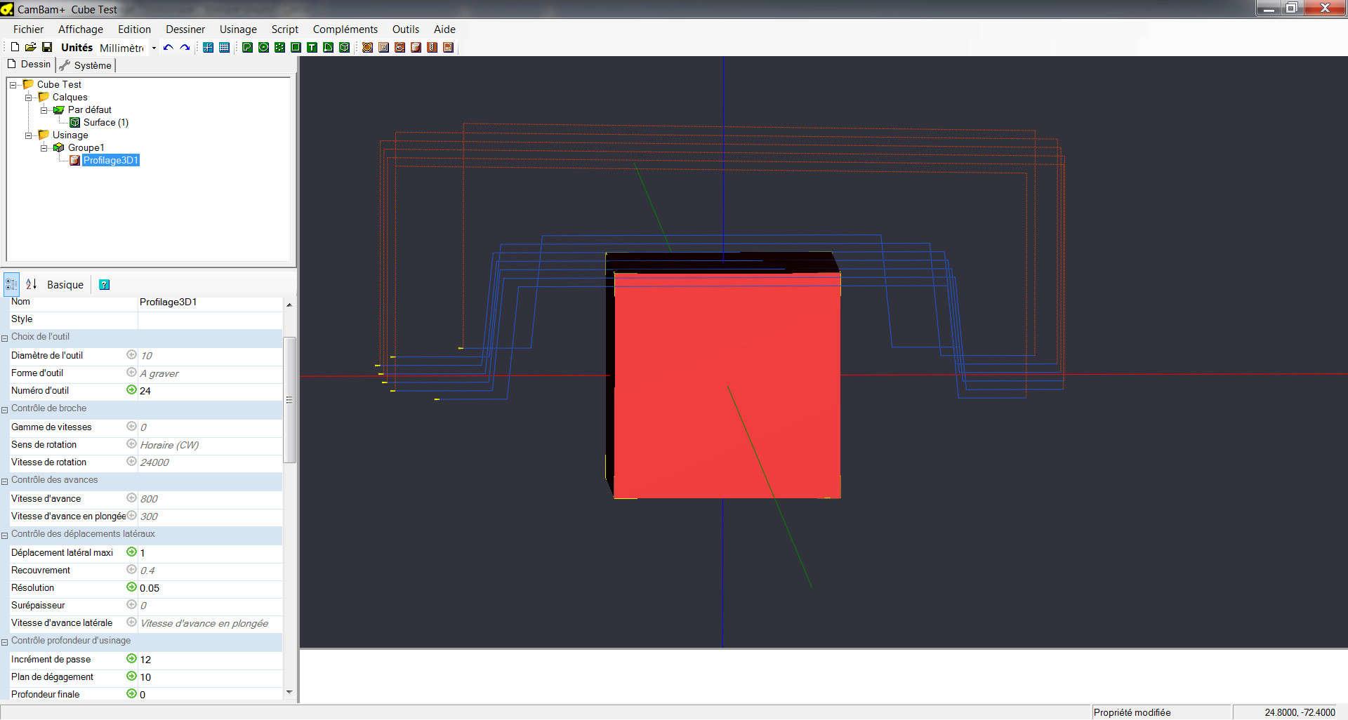 Cambam, CutViewer et gestion d'outils Test_f11