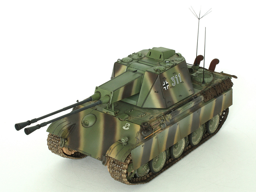 5,5 cm Zwilling Flakpanzer mit Panther Fahrgestell (Rheinmetall turm) (конверсия Dragon+Trumpeter 1/35) A_111