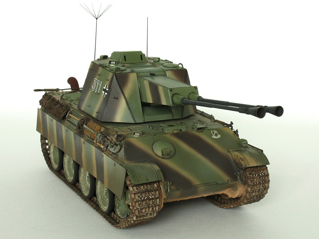 5,5 cm Zwilling Flakpanzer mit Panther Fahrgestell (Rheinmetall turm) (конверсия Dragon+Trumpeter 1/35) A_411