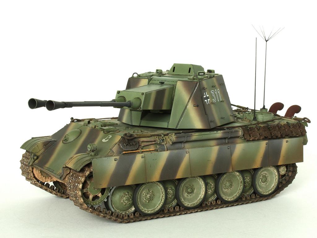5,5 cm Zwilling Flakpanzer mit Panther Fahrgestell (Rheinmetall turm) (конверсия Dragon+Trumpeter 1/35) A_711