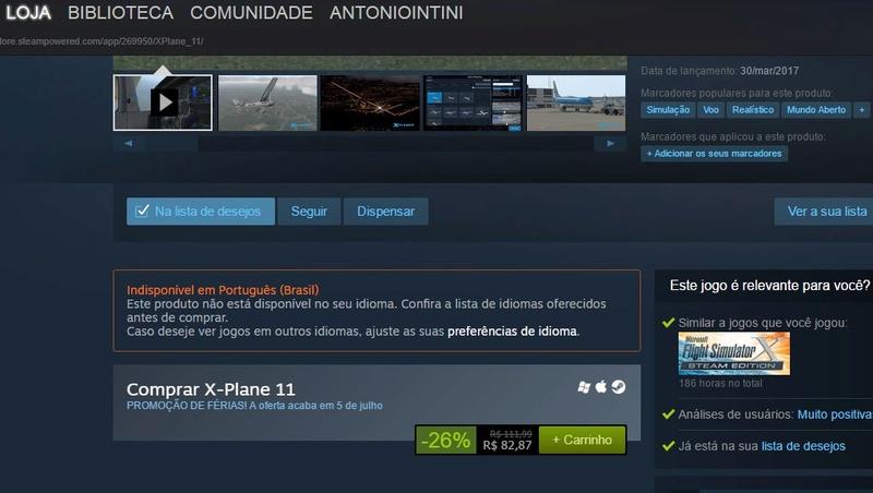 Promoção X-Plane 11 na Steam Captur10