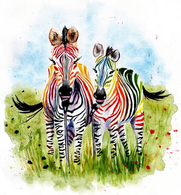 Les animaux peints à l'AQUARELLE - Page 8 Zebra_10