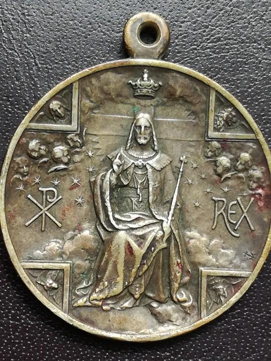 Cristo Rey entronizado / Virgen del Perpétuo Socorro s.XX Medall14