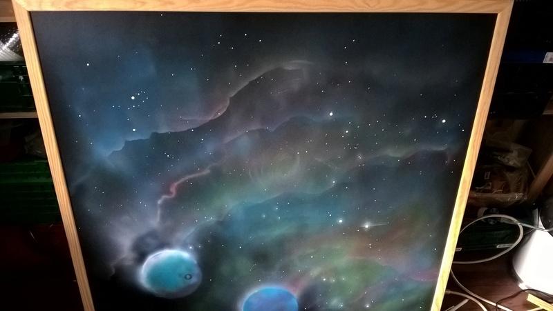 Space mat aus Holz mit Airbrush als Hintergrund! Wp_20130