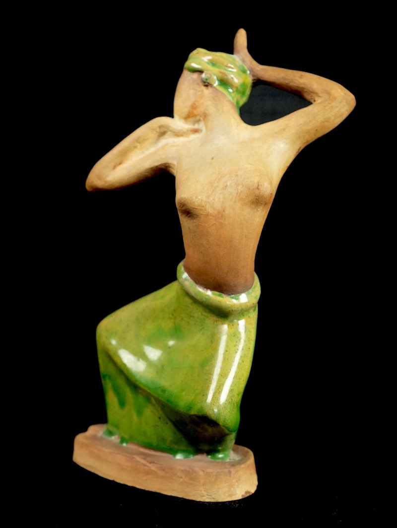 Pottery Figurine Sculpture of a Topless Indigenous Dancer with Turban Bali_d36