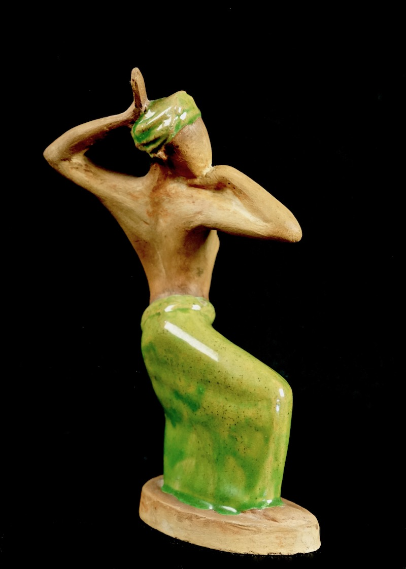 Pottery Figurine Sculpture of a Topless Indigenous Dancer with Turban Bali_d37