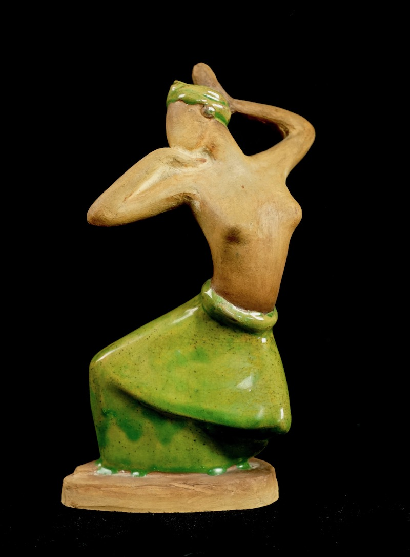 Pottery Figurine Sculpture of a Topless Indigenous Dancer with Turban Bali_d38