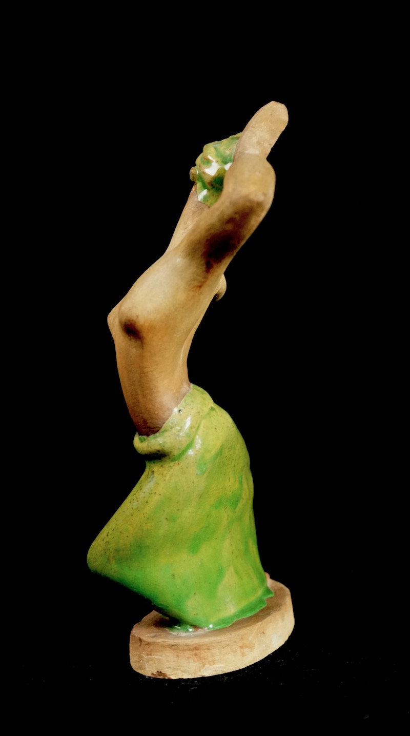 Pottery Figurine Sculpture of a Topless Indigenous Dancer with Turban Bali_d41