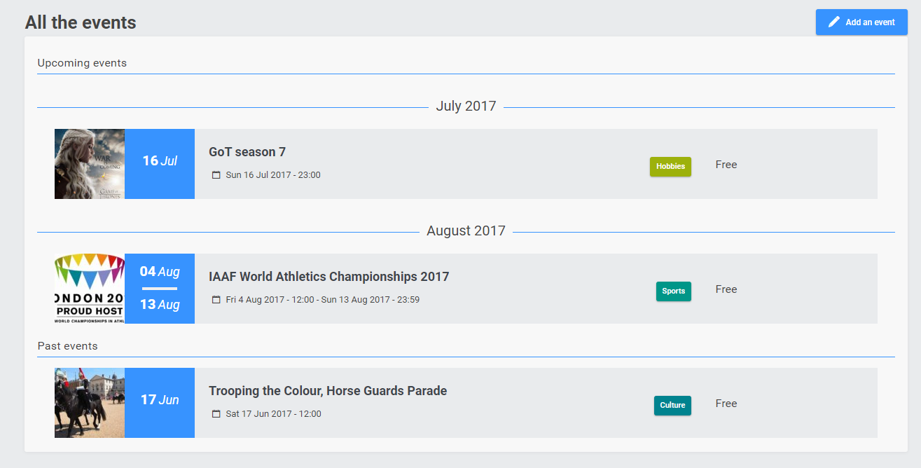 New functionality : the events  15310