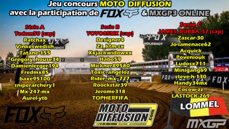 Liste des séries pour la FINALE du championnat MOTO DIFFUSION sur LOMMEL Series10