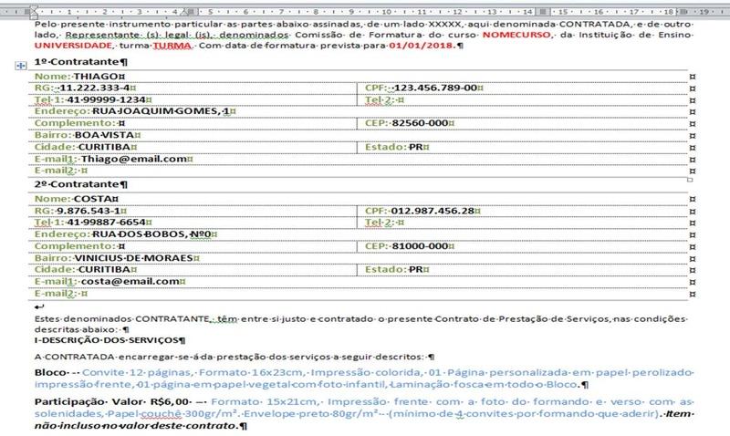Relatório com informações editáveis Exempl10