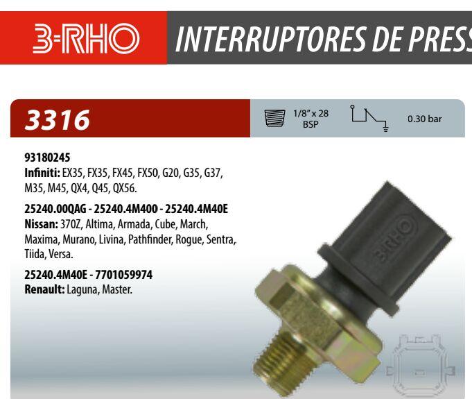 Interruptor de pressão do Óleo Livina 2009/2010 331610