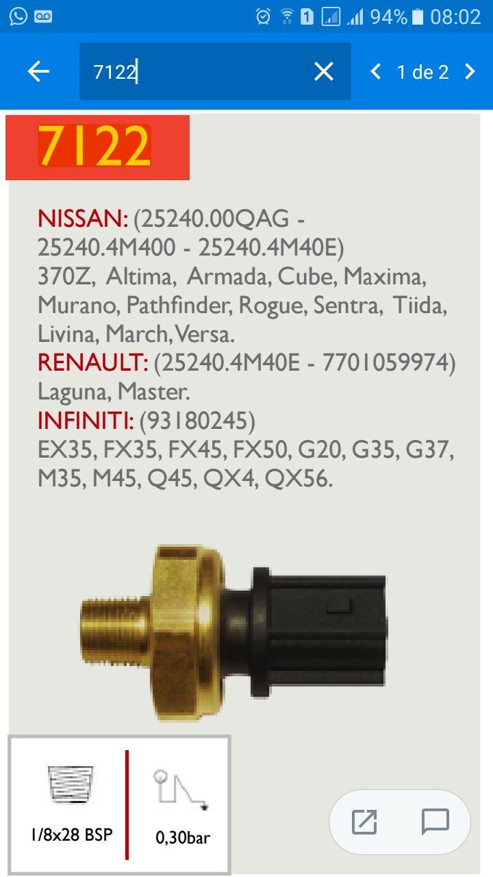 Interruptor de pressão do Óleo Livina 2009/2010 712210