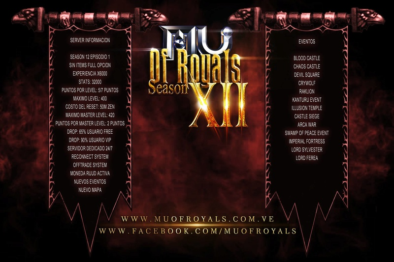 Mu Of Royals|Season12 Ep1 | x6000 |Balanced PVP |Drop 65% | No Webshop New10