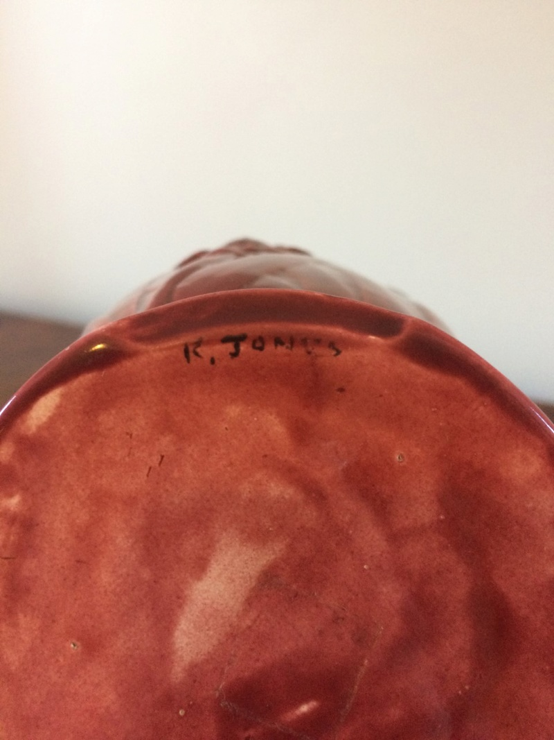 "Red Floral Vase marked ""K.Jones"" Thumbn11"