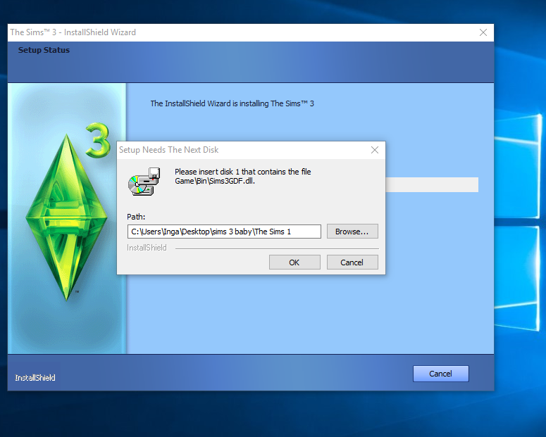 The Sims 3: The Complete Collection, Setup Needs The Next Disk Captur11