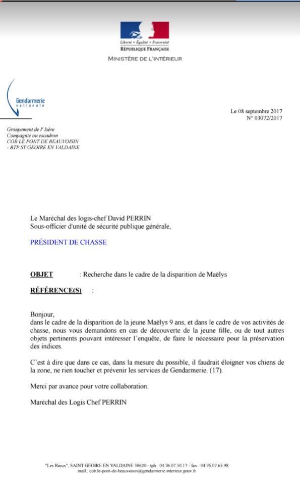 Appel de la gendarmerie suite à disparition Gendar10
