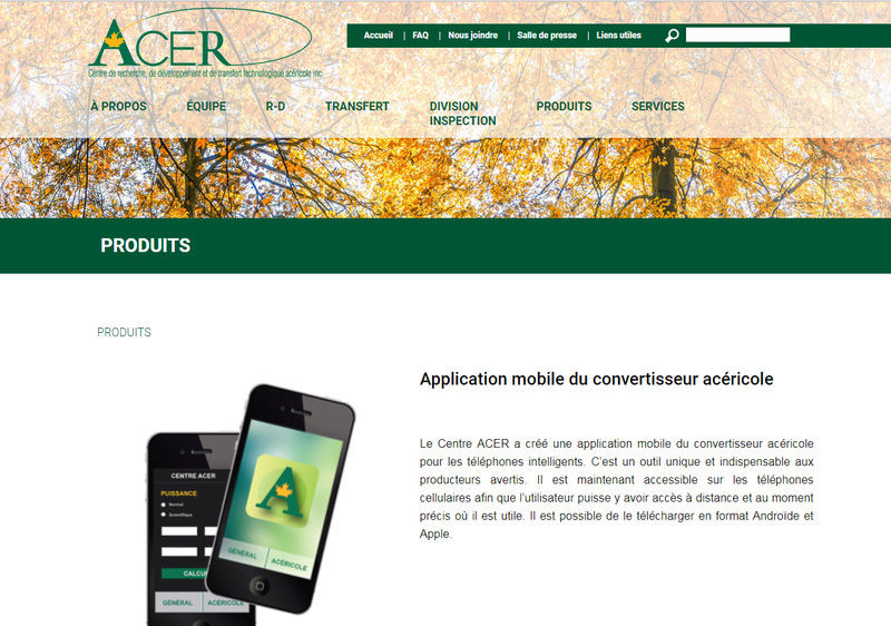 Application Convertisseur acéricole, du Centre Acer Conver10