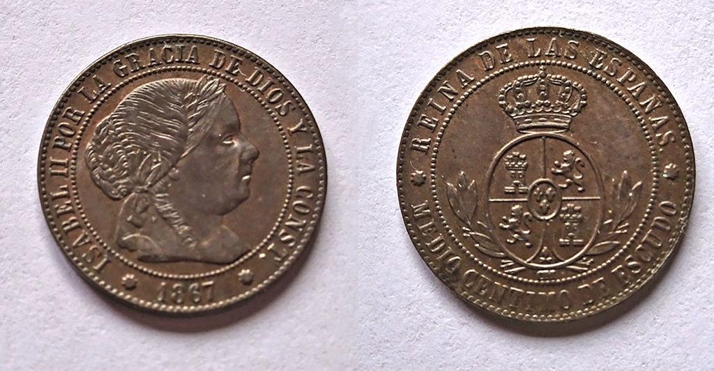 1/2 céntimo de escudo 1867. Isabel II. Barcelona.  Juntas10