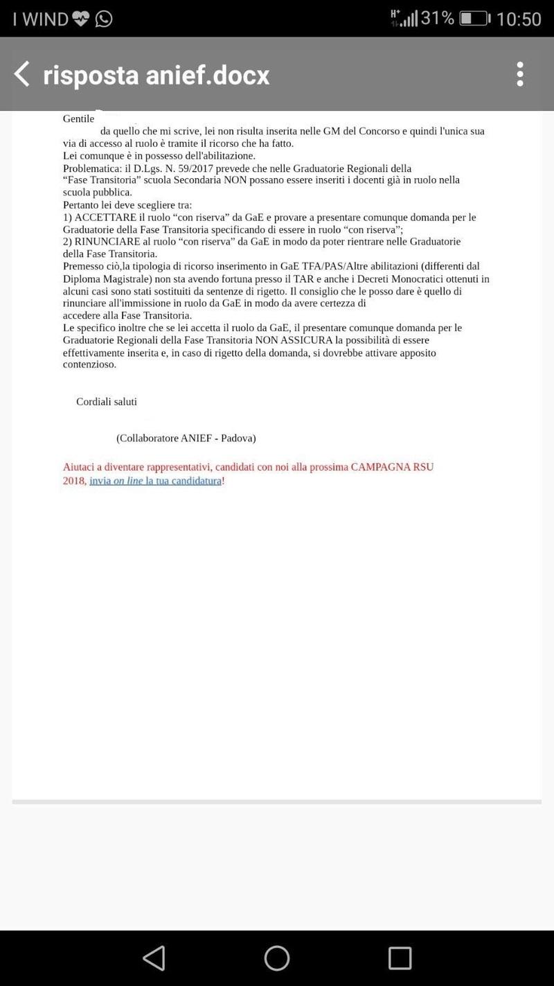 Importante: Risposta Anief a ricorsista ammessa in gae con riserva   Rispos13