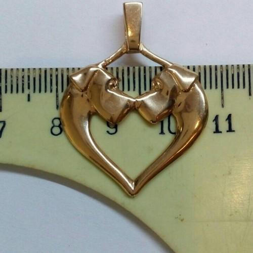 Золотые и серебряные подвески с догами Heart_10