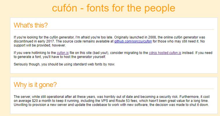 La web de Cufón dejó de funcionar. Cufyn10